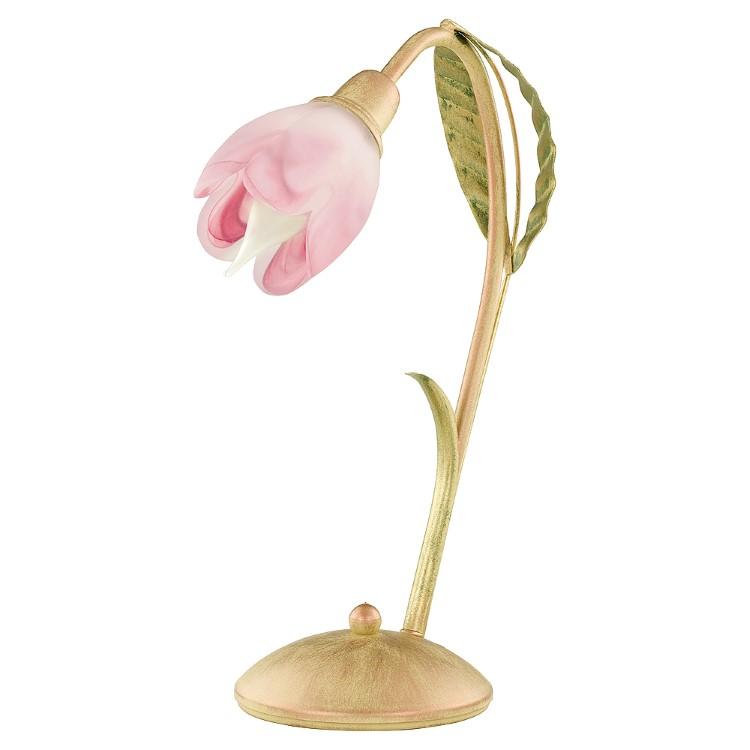Μεταλλικό Πορτατίφ Azalia Χρυσό-Ροζ με διακόσμηση από φύλλα