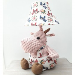 Kids lamp hippopotamus Pink Motive Square Fabric Material