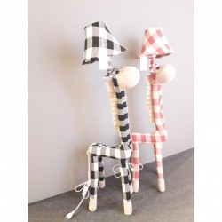 Kids Floor lamp Giraffe Red White Fabric