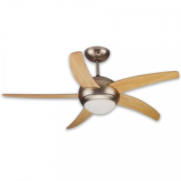 CEILING FAN WITH 5 WINGS satin Nickel with Wooden wings