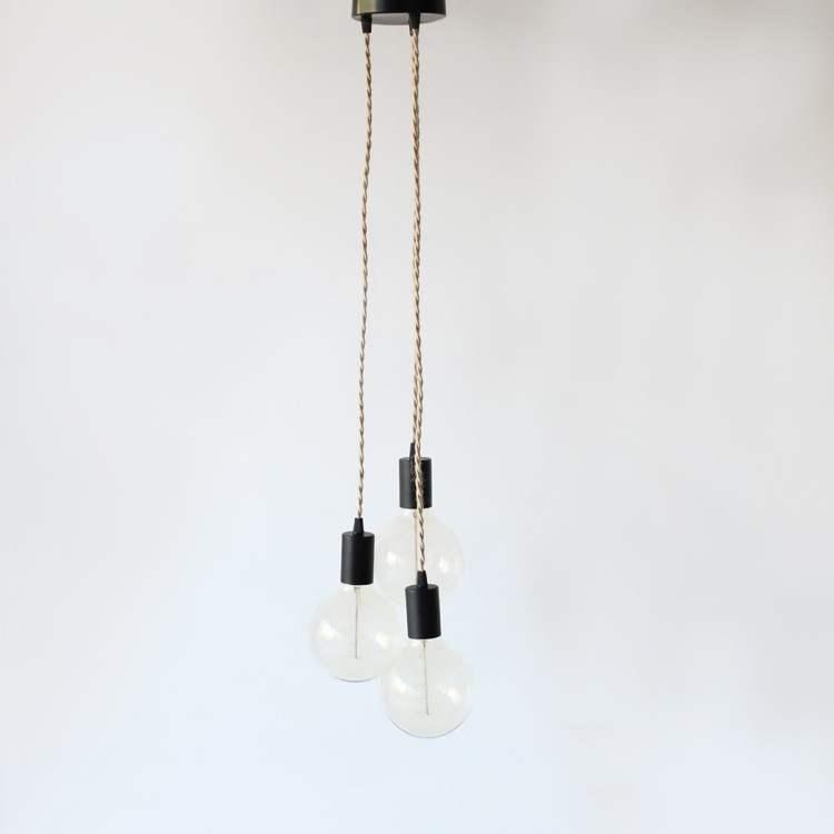 Μινιμάλ Μοντέρνο Μεταλλικό Κρεμαστό Φωτιστικό 3φωτο Μαύρο με Σχοινί