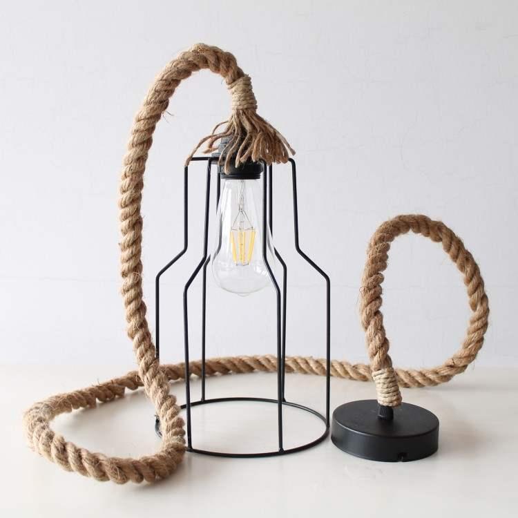 Φωτιστικό Κρεμαστό Κλουβί Μαύρο  με τριχιά Jute 16mm