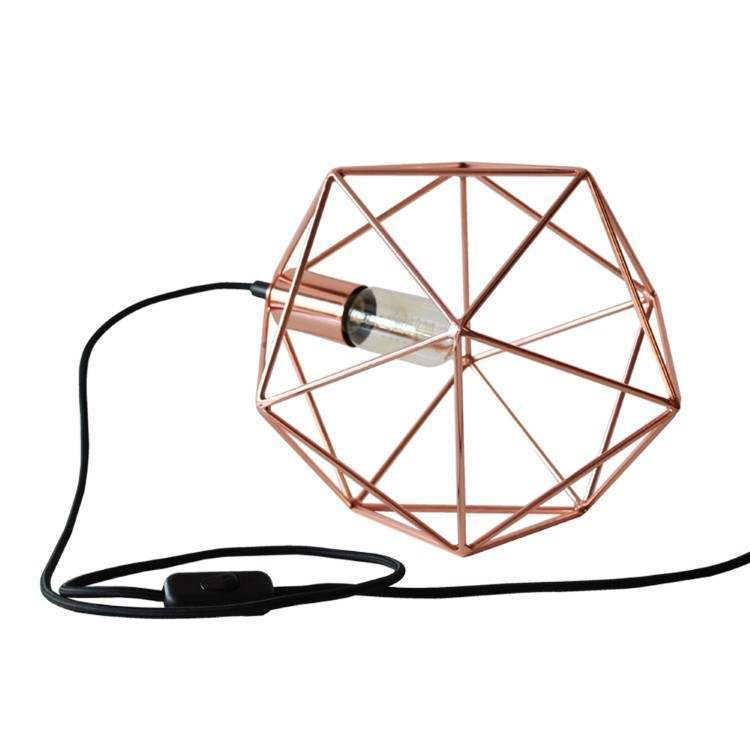 Φωτιστικό Οροφής Διαμάντι Πολύεδρο Χάλκινο 20cm Χειροποίητο Κλουβί