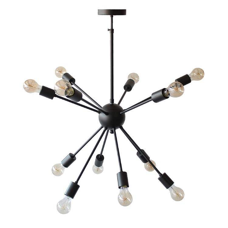 Sputnik Multi-Pendant Lamp Black with 12 bulbs