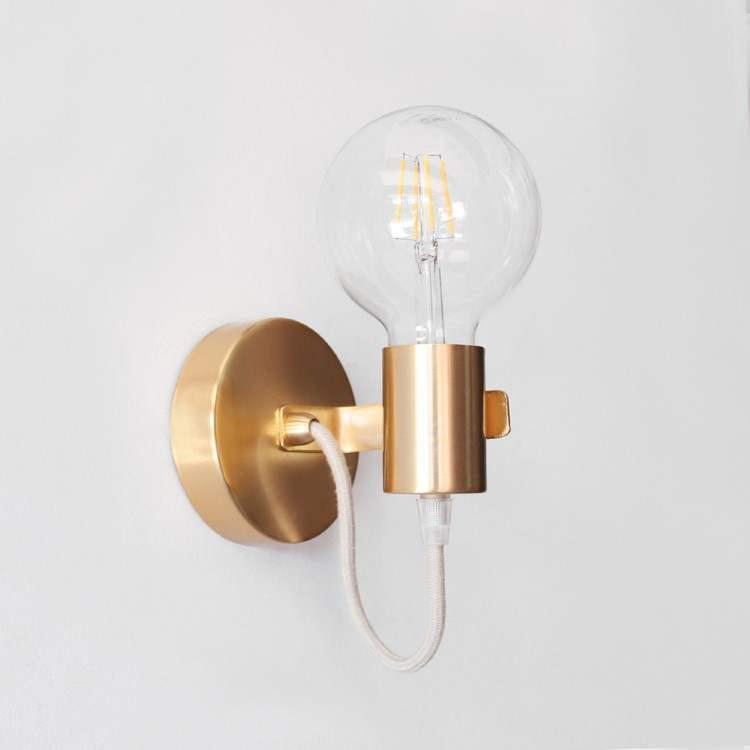 Minimal Modern Metal Wall Lamp Gold Matte