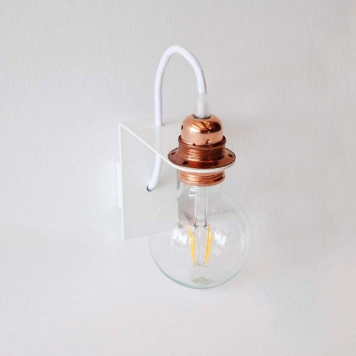 Modern White Wall Lamp with White Fabric Cable RM01