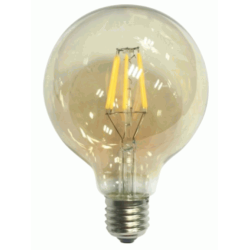 Led Filament E27 G125 6W Globe με μελί γυαλί Dimmable