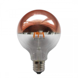 LED Globe G125mm E27 6W Dimmable Half Rose Gold filament