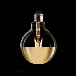 LED Globe G125mm E27 6W Dimmable mirror Gold filament