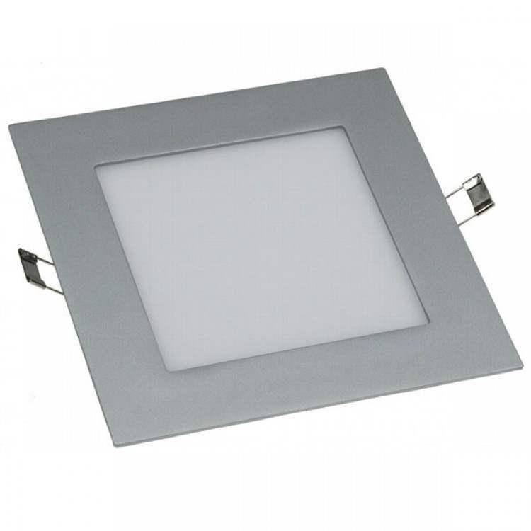 LED Πάνελ Τετράγωνο Χωνευτό Ασημί 12W