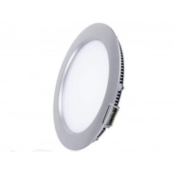 LED Recessed Round Panel 12W Silver