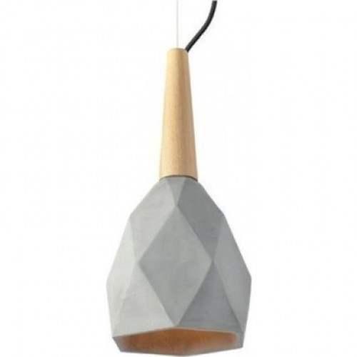 Κρεμαστό Τσιμεντένιο Φωτιστικό Πολυγωνική Καμπάνα Φ20 με Ξύλο